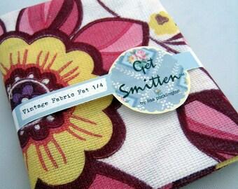 Bright Funky Retro Floral Vintage Fabric Fat Quarter