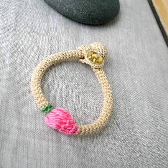 Baby Bracelet - Baby Jewelry - Crochet Baby Bracelet - Cotton Baby Bracelet - Crochet Jewelry - Children's Jewelry - PINK ROSE