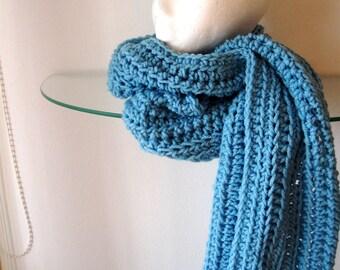 Crochet Long Scarf Random Ridges Blue Textured Neck Warmer Forever Scarf