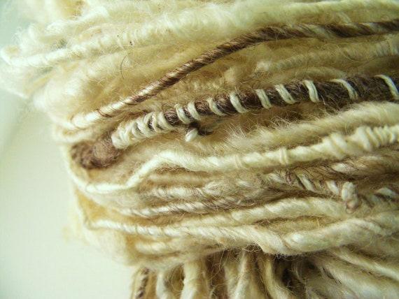 Reserved for Marian Natural Celebration  Corespun Hand Spun Yarn Texture slubb wedding  baby 104 yards