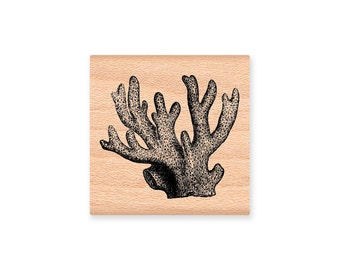 OCEAN CORAL  - wood mounted rubber stamp -(MCRS 21-20)
