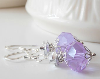 Lavender Bridesmaid Earrings Faceted Crystal Dangles in Silver Purple Wedding Jewelry Bridesmaid Gift