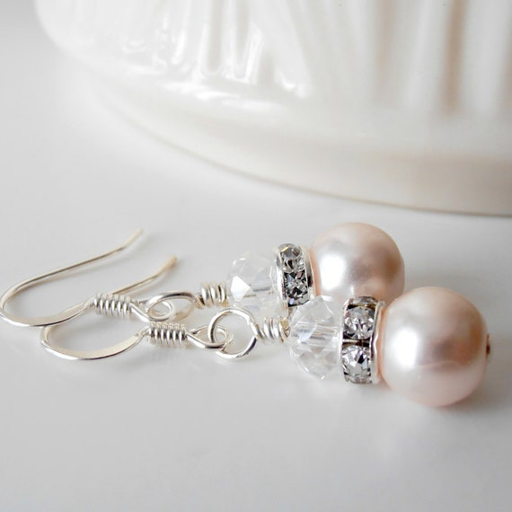 Light Pink Bridal Earrings, Pearl Earrings, Pearl and Crystal Jewelry, Bridesmaid Earrings, Pale Pink Dangle Earrings, Bridesmaid Gifts
