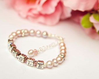 Nicole... pink freshwater pearl personalized name baby toddler bracelet