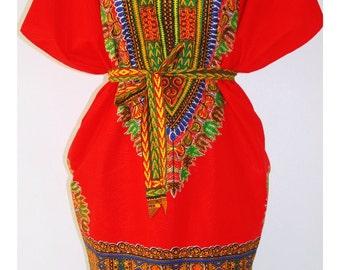 African Dashiki Tunic Fire Spirit Tribal Dress