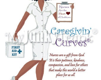 1/2 Price OVERSTOCK Sale- Caregivin' Curves- African American Art Nurse Natural Hair Art Black Art Print