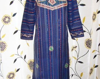 SALE, Vintage Caftan, Embroidered Caftan, Blue Caftan, Exotic maxi dress, Festival dress, size S