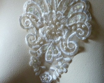 Beaded Applique Lace in Ivory for Bridal, Headbands, Sashes, Costume Design IA 115