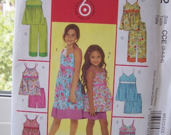 McCall's M5572 Childs' Sewing Pattern,  SALE Girl's Summer Tops, Dresses, Shorts and Capri Pants, 6 Looks Easy to Sew, Size 3 - 6