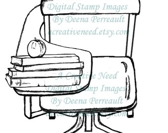 INSTANT Download Vintage SCHOOL DESK Digital Stamp Image