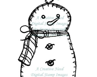 INSTANT Download Digital Stamp Image Vintage style Hand STITCHED SNOWMAN Ornament