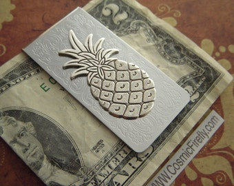 Silver Pineapple Money Clip Vintage Inspired Victorian Men's Gifts Tropical Bahamas