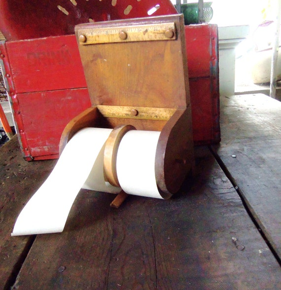 Vintage Country Store Wooden Paper Note Dispenser w/ Ruler
