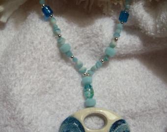 Blue Oval Ceramic Necklace