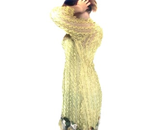 Ribbon Dress Vintage 60s  Yellow Custom Made Dress Size M Spring Fashion Epsteam