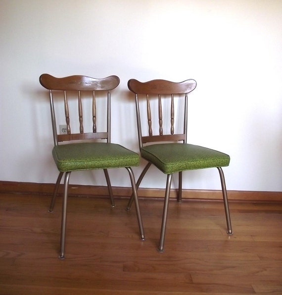 50s Kitchen Chairs Vintage Dinette Chairs Vinyl and Wood Chairs Set of 2 Chairs