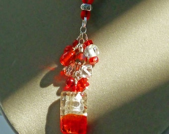 Pendant necklace with red/wte foil glass rectangle hanging from Czech glass and seed beads on SS chain