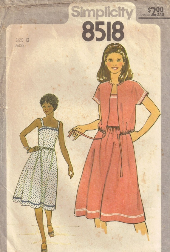 Simplicity 8518 Vintage 1970s Misses Sundress Jacket Sewing Pattern Size 12 Bust 34