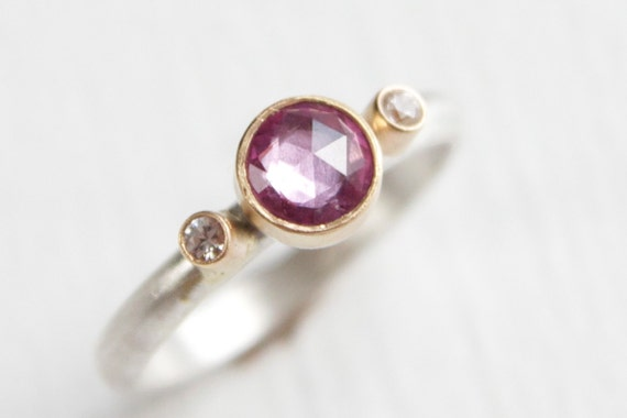 Rose Cut Pink Sapphire and White Sapphire 3 Stone Ring in 14k Yellow Gold and Sterling Silver Gemstone