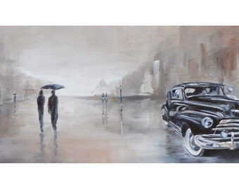 gentle rain: giclee art print of a street scene in the rain with vintage classic car chevrolet fleetline