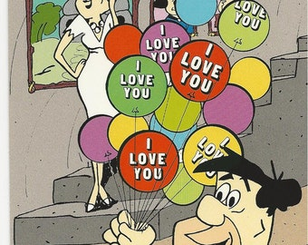 1987 Hanna Barbera 4x6 Post Card FLINTSTONES I Love You