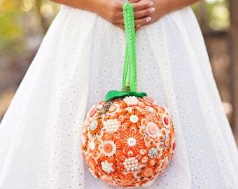 Bridal Button and Felt Pomander. Custom Color. Alternative Wedding Bouquet