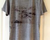 T Shirt With Original Art Print Tri Blend Adult Size Small
