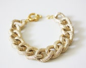 Gold Faux Pave Textured Chain Bracelet