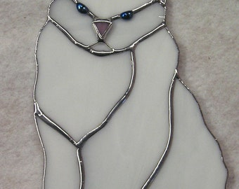 White Cat Stained Glass Suncatcher