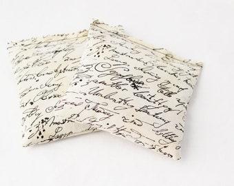 Organic Lavender Drawer Sachets for Her - Cursive Script Antique Ephemera Lavender Bags - Cotton Anniversary
