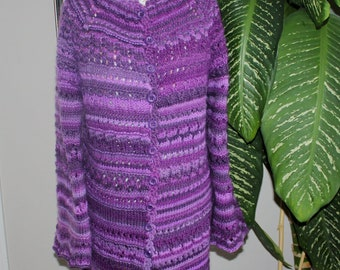 100% natural wool! Handmade women Hand Spun Knit The Perfect Fit Purple Crazy Lace Cardigan- Free Shipping - Ready to ship TODAY
