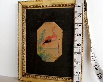 Feathered Bird Picture with Watercolor Background in Antique Frame Using Real Feathers 1904