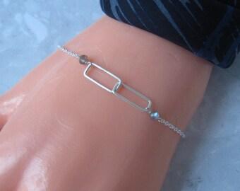 Interlocking Rectangles Bracelet in Silver with Labradorite- Metalwork