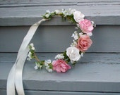 Cottage Chic bridal headpiece silk pink peach paper rose flower crown -Kate- Rustic woodland Wedding accessories hair wreath halo circlet