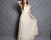 1970s GUNNE SAX DRESS / Ivory Rosebud Floral Sleeveless Maxi, xs-s