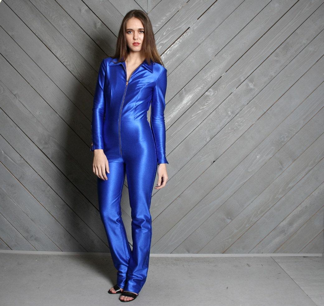 1970s le gambi jumpsuit blue shiny spandex disco onesie xs
