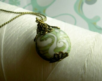 I Dream Of Genie -clay pendant / green necklace / green brass necklace / moss green necklace / earthy necklace / polymer clay jewelry