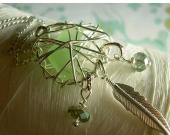 Dream Catcher - peridot seaglass / dream catcher / dreamcatcher necklace / seaglass necklace / sea glass necklace / feather necklace