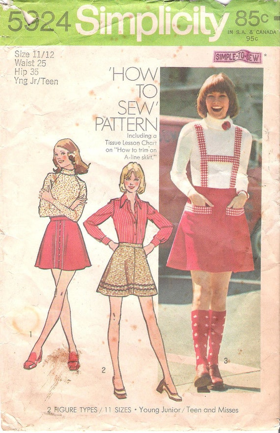 Retro 1970's Mini Skirt with Suspenders Sewing Pattern Simplicity 5924