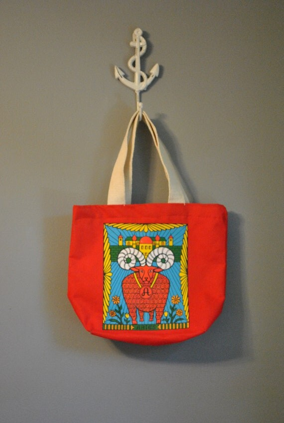 1970s Aries Zodiac Tote Bag/ Small Red Canvas Handbag with Coinpurse