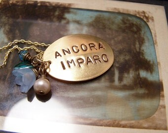 Ancora Imparo Necklace... I Am Still Learning... Still I Am Learning... Michelangelo Brass Version with Blue charms
