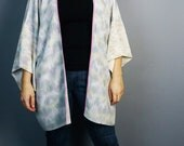 SAMPLE SALE***light green and lavender tie dyed silk kimono top