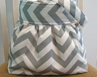Gray and White Chevron Stripe  ( Zigzag )  Handcrafted Gathered Cotton Fabric Bag in Gray and White