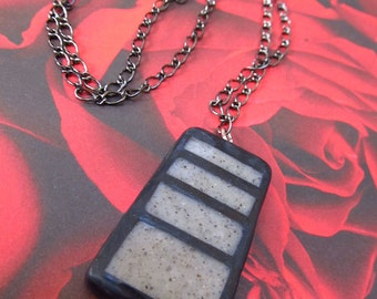 Industrial Concrete Trapezoid Polymer Clay Necklace