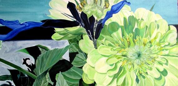"""green zinnia painting 5x7 Hand Mounted Hand Signed Art Card- """"Zinnia en Chartruese"""""""