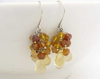 Yellow citrine earrings in sterling silver, with autumn brown hessonite garnet, golden yellow citrine jewelry
