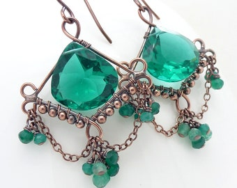 Big dark emerald green earrings with green onyx, Wire wrapped green chandelier earrings, New Zealand handmade copper jewelry