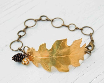 Gold Leaf Bracelet Oak Leaf Pine Cone Nature Forest Woodland Wedding Autumn Jewelry Oak Tree Cuff Bracelet Gift for Her Leaf Jewelry