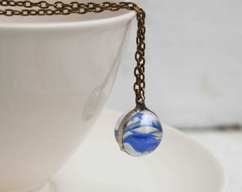 BLUE  Marble Necklace Ocean Waves Vintage  Blue Cat Eye Summer Festival Jewelry