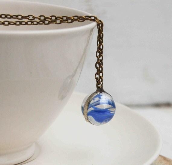 BLUE  Marble Necklace Ocean Waves Vintage  Blue Cat Eye Summer Festival Jewelry